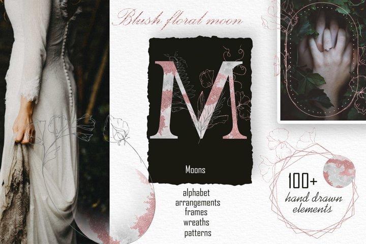 Blush floral moon, Mysterious alphabet, monograms, bundle