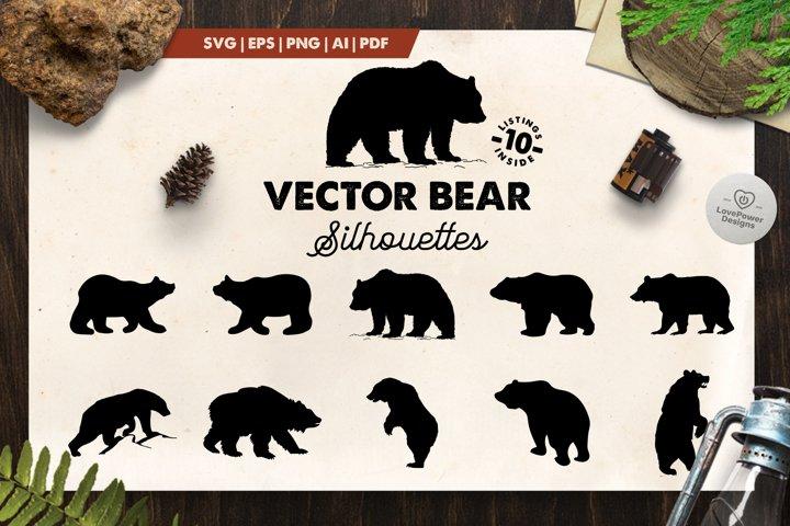 Bear Silhouette | 10 Vector Bear Silhouettes | Bear SVG