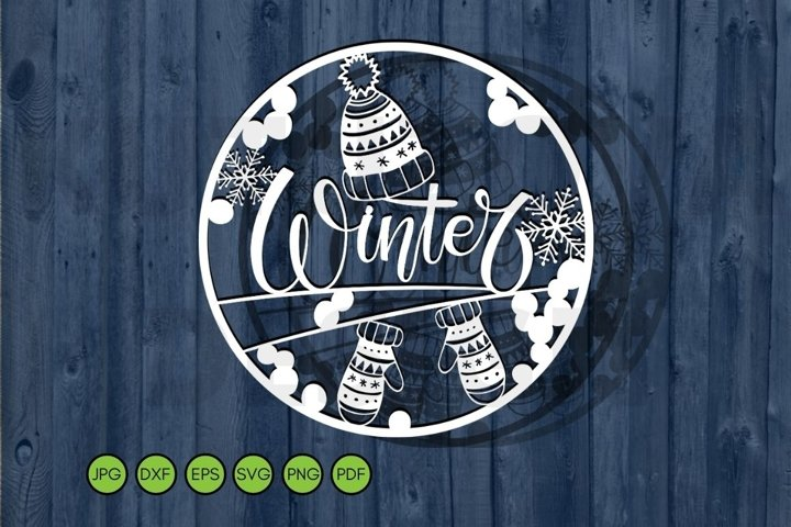 Winter SVG Paper Cutting Template. Christmas Frame Cut File