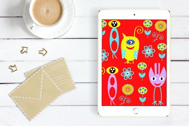 Monsters seamless pattern vector plus PNG sublimation design
