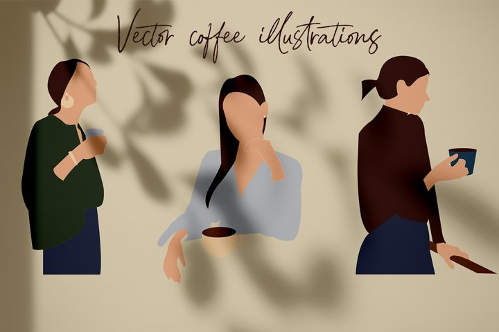 Coffee vector illustration. Abstraction and linear art