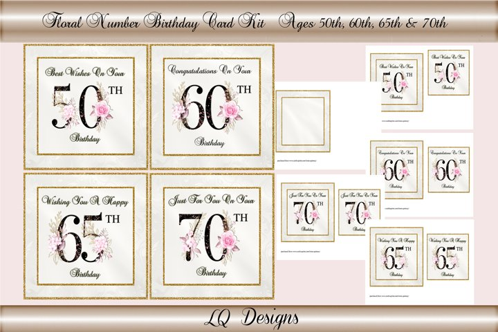 Floral Numbers Birthday Card Kit - Ages 50,60,65 & 70