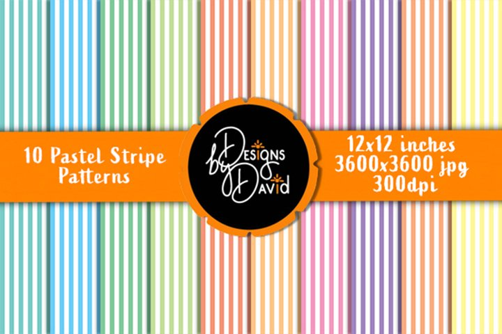 10 Pastel Stripe Patterns - Scrapbook Paper - 12x12 inches