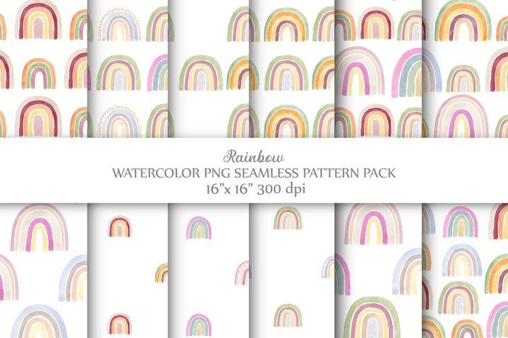 Watercolor Rainbow Seamless Patterns.PNG & JPG Digital Paper