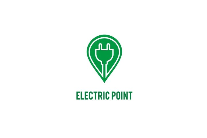 Charging electric point pin icon logo design