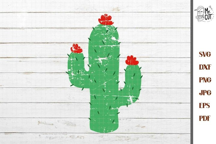 cactus Distressed SVG, EPS, DXF, png,