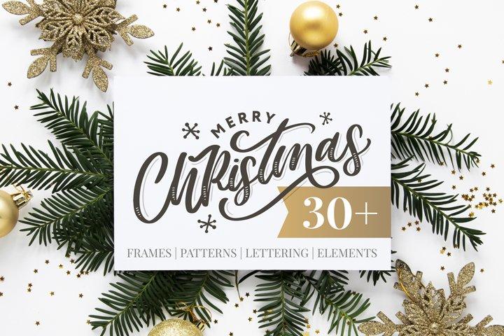 Christmas set | Frames | Patterns | Lettering | Elements