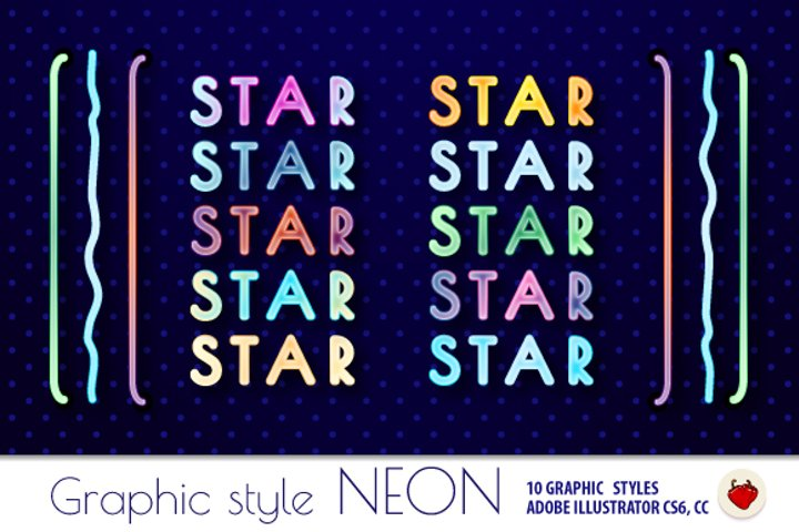 NEON Retro Graphic Styles in the style of 80s.