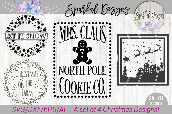 Christmas BUNDLE - A Set of  4 Christmas Sign SVG Designs