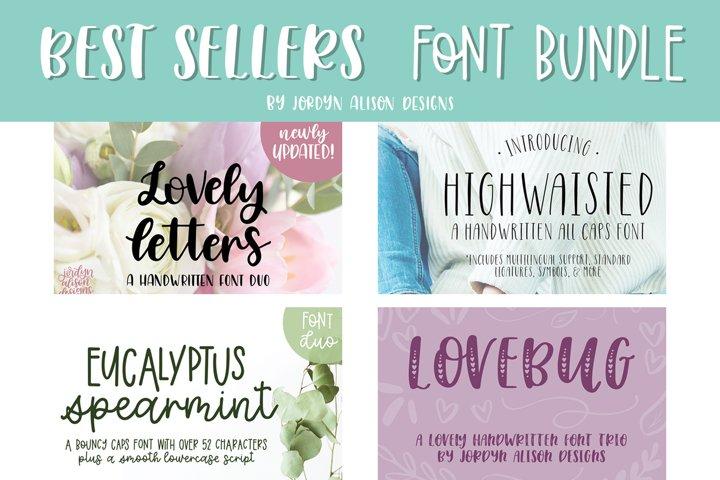 Best Sellers Font Bundle, 4 Hand Lettered Fonts