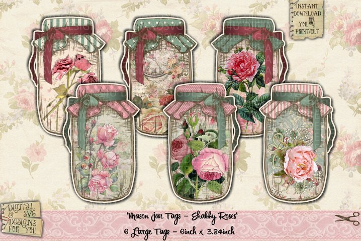 Printable Mason Jars | Shabby Chic | Mason Jar Flowers