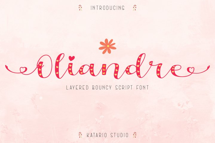 Oliandre | Lovely Layered Bouncy Font