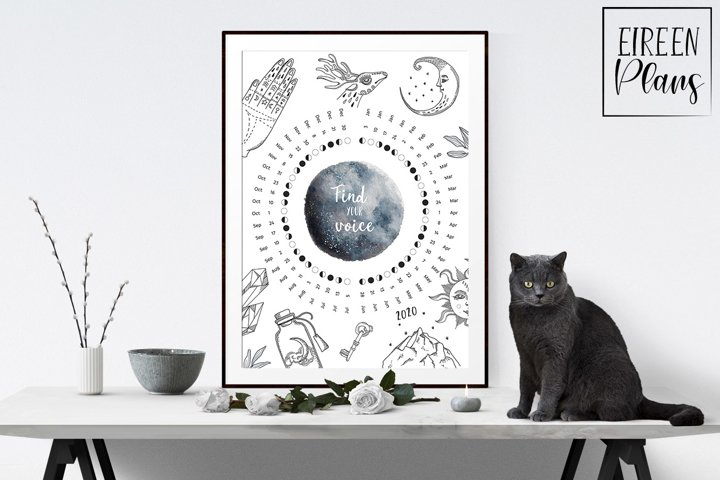 Printable 2020 Moon phases calendar