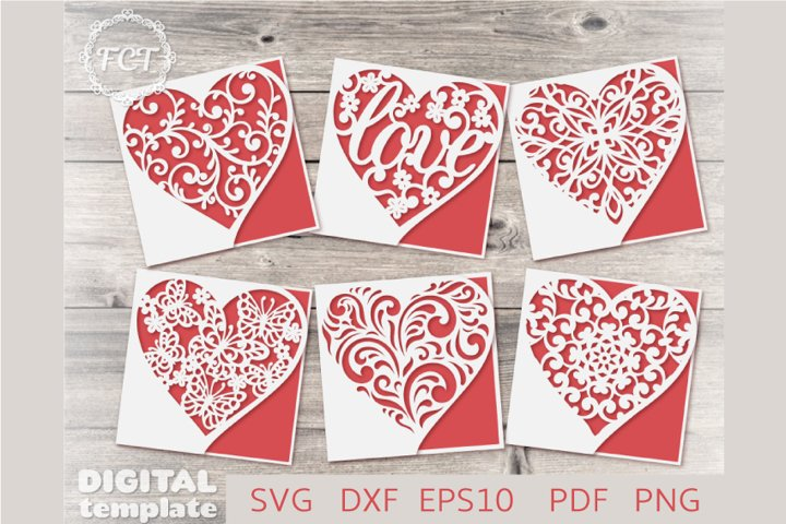 6 Valentines card SVG templates set, Heart greeting cards