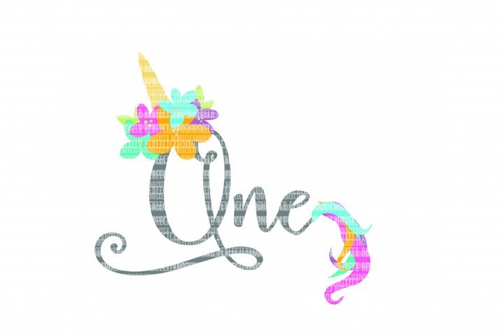 Unicorn Birthday One SVG Files Cut Files Heat Transfer Vinyl Scrapbooking Stencil EPS DXF Silhouette Cameo Cricut Commercial Use