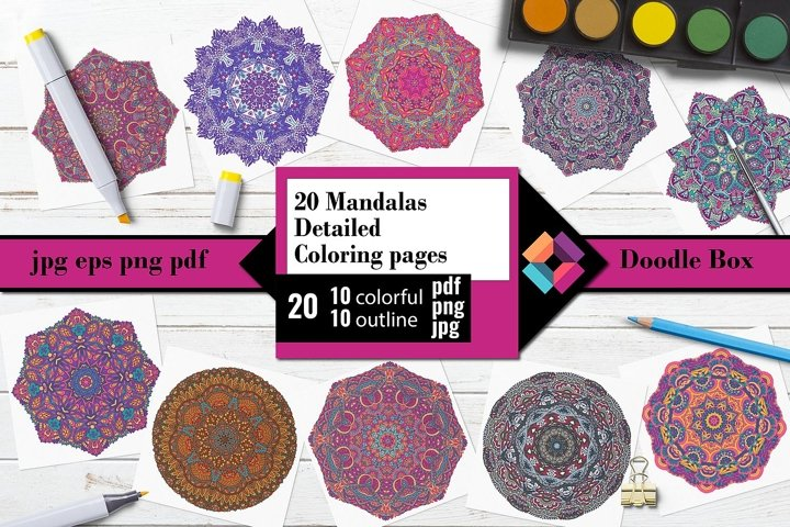 Mandalas detailed Coloring pages