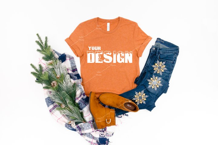 Bella Canvas 3001 Heather Autumn T-shirt Mockup Unisex