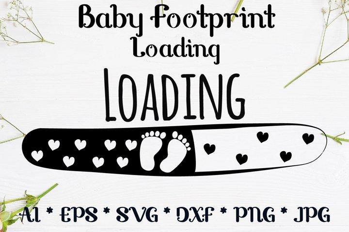 Baby Footprint pregnancy loading svg design cut file