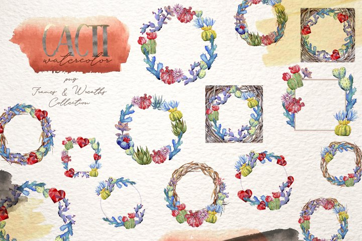 Cool colorful cacti PNG watercolor set example 4