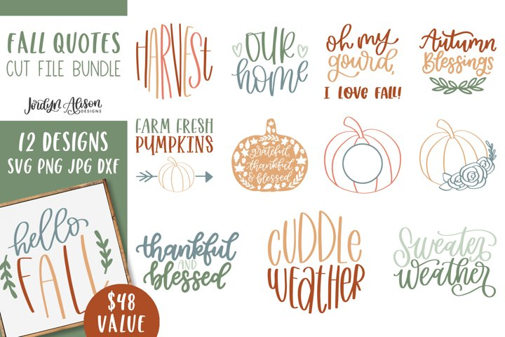 12 Fall SVG Cut File Bundle, Vol 1