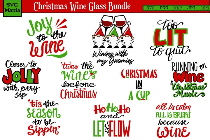 Christmas Wine Glass SVG Bundle, Christmas SVG Bundle, Wine