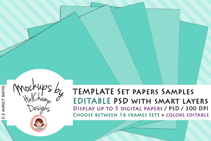 5 Panels Mockup for Digital Papers - M06