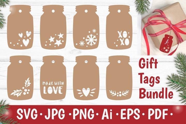 Christmas Gift Tags SVG Bundle, Xmas Jar Decor