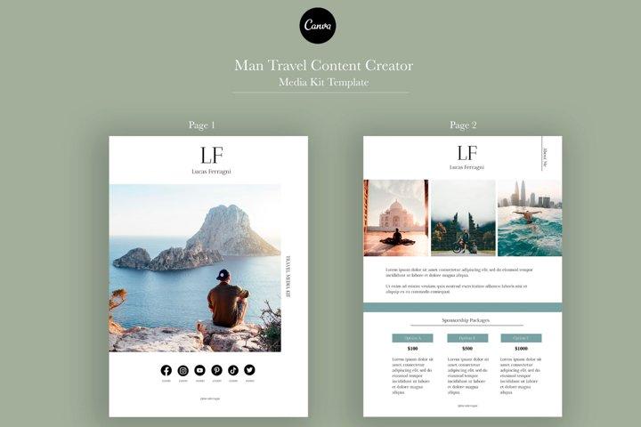 Man Travel Media Kit Template   Canva Template