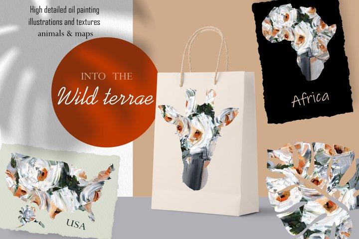 Wild terra. Maps & Animals. Safari, floral oil painting set