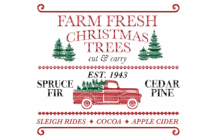 Farm Fresh Christmas Trees Red Truck SVG Files Cut Files Heat Transfer Vinyl Scrapbooking Stencil EPS DXF Silhouette Cameo Cricut Commercial Use