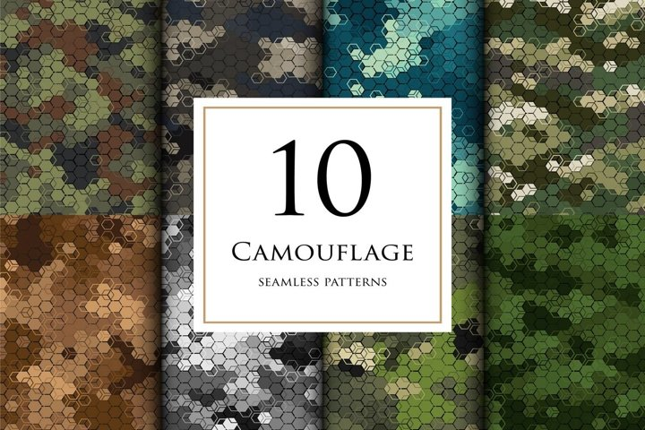 10 Vector digital camouflage masking seamless pattern set