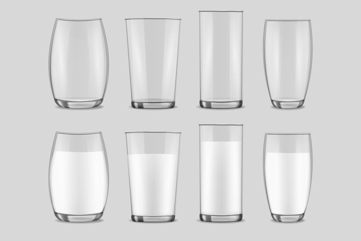 Realistic transparent glasses with milk vector