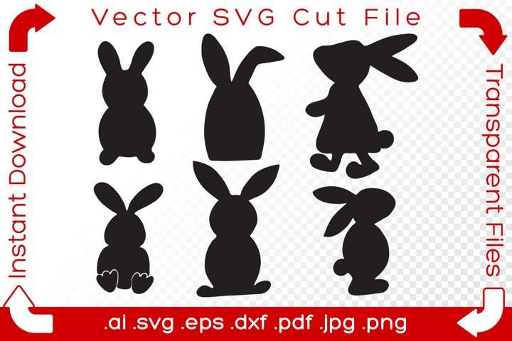 Easter Bunnies SVG Bundle Clipart Rabbits Vector Drawing