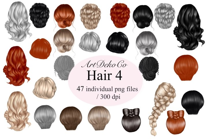 Custom Hairstyles Clipart, Female Hair Clipart, Best Friends