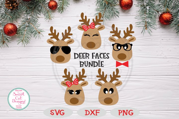 Deer Faces Bundle SVG, Christmas SVG, Reindeer SVG, Bundle