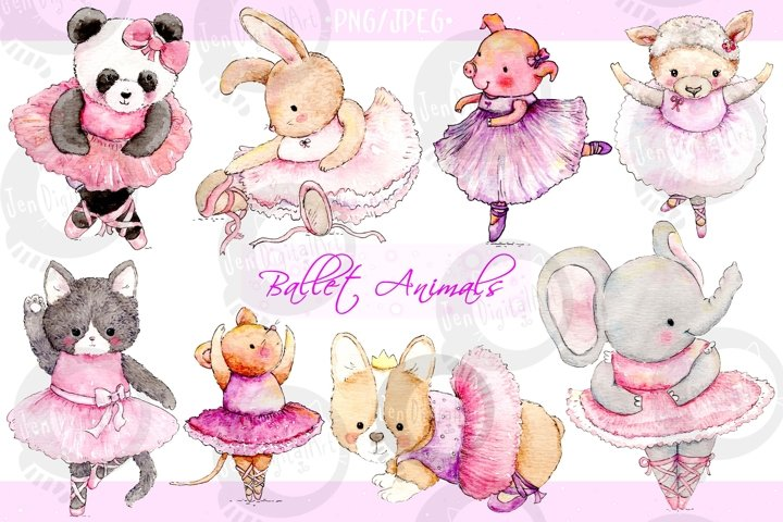 Watercolor Ballet Animals | 8 Clip Art Illustrations-PNG/JPG
