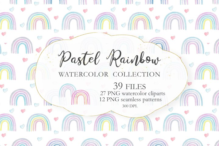 Watercolor Pastel Rainbow Collection
