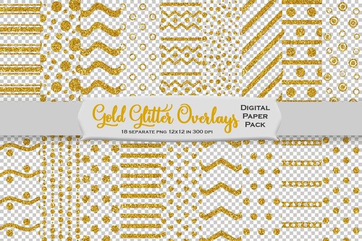 Gold Glitter Decorative Overlays