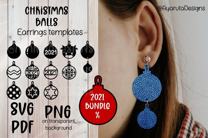 Christmas Balls 2021 Earrings Cutting template SVG PNG gift