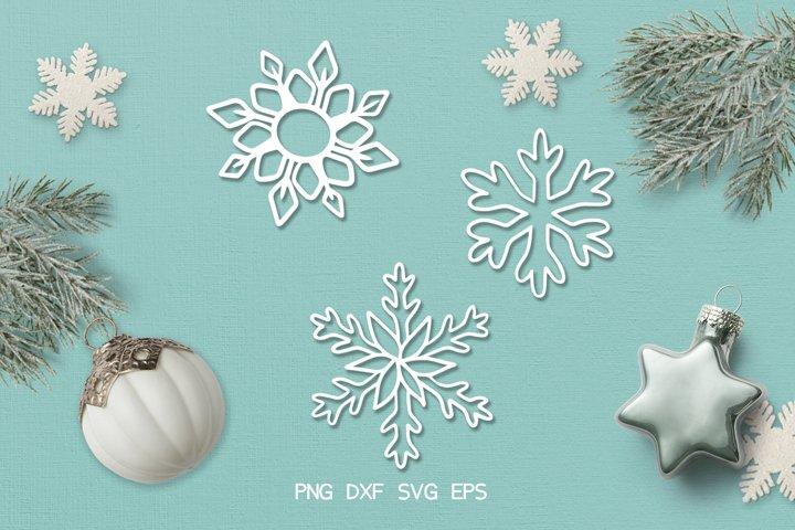 SVG / PDF / DXF Snowflake Design, Papercutting Template