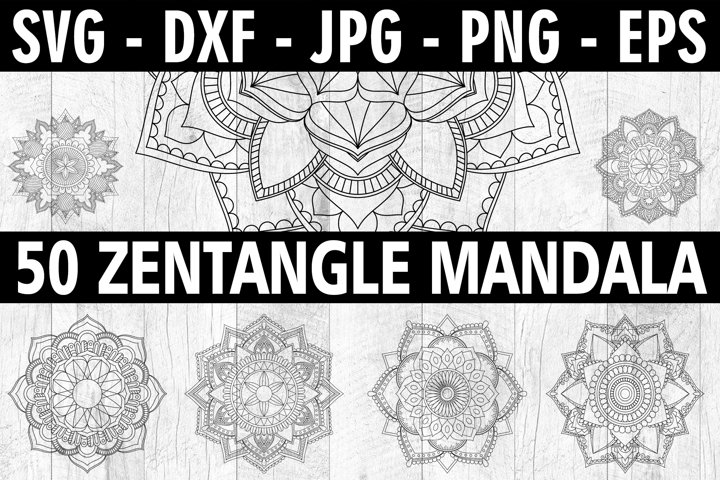 Zentangle SVG - 50 Zentangle Mandala SVG