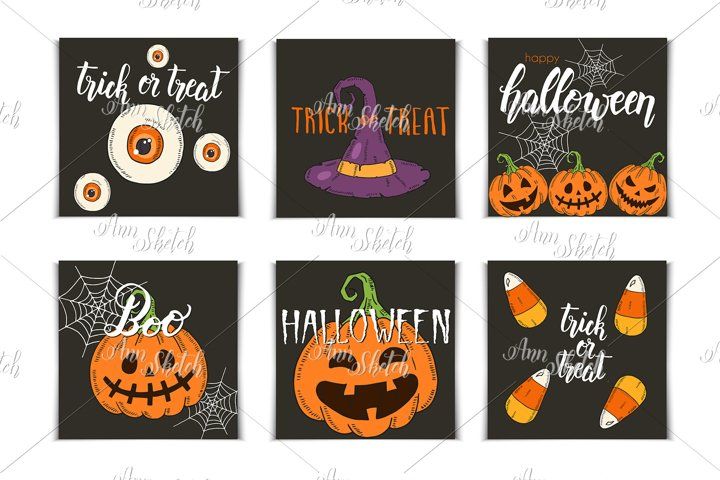 Vector Halloween set of invitation cards
