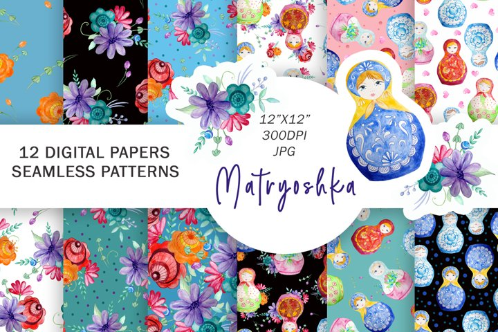 Matryoshka Digital Paper, Nesting Dolls Patterns