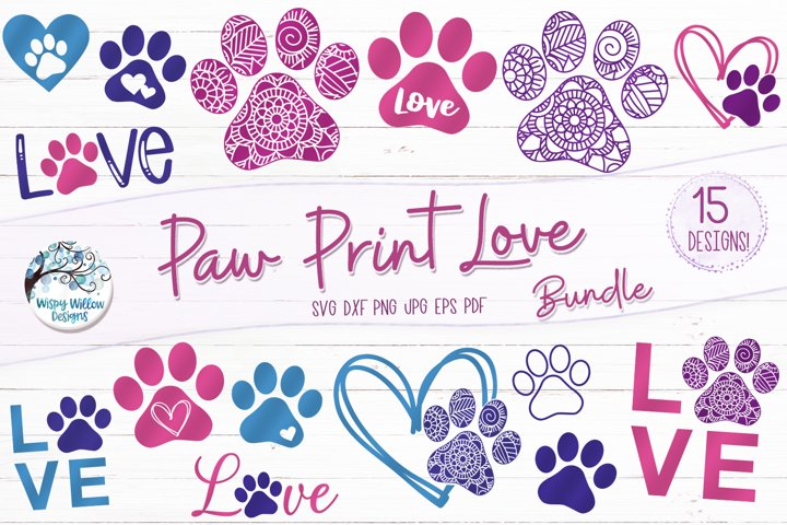 Paw Print Love SVG Bundle | Dog SVG Bundle