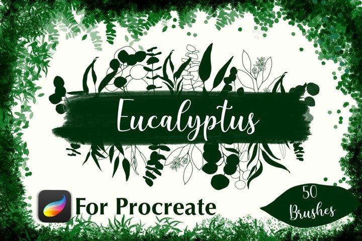 Eucalyptus Brushes for Procreate, Botanical Stamps Procreate