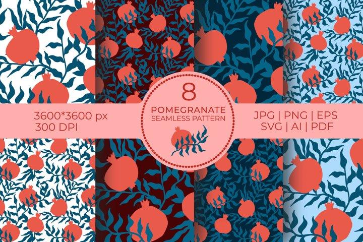 Pomegranate Digital Papers BUNDLE, seamless garnet patterns