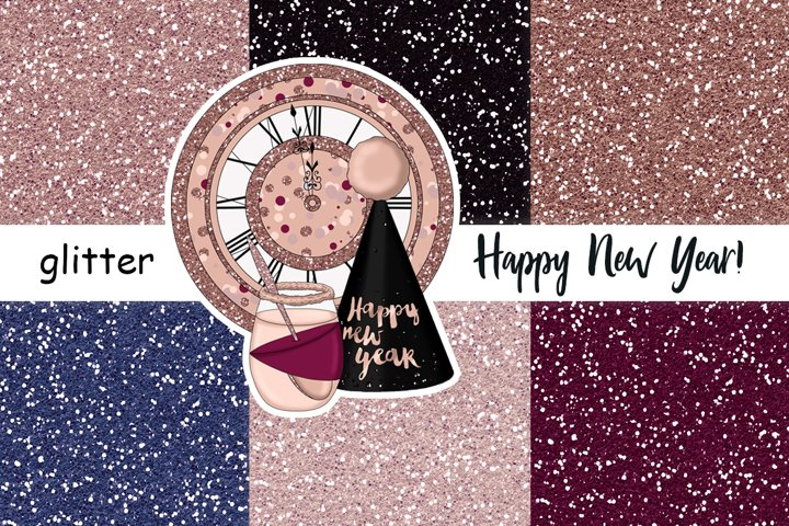 Happy New Year Rose Gold GLITTER Print Digital Paper JPEG