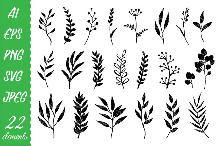 Decorative branches and herbs set