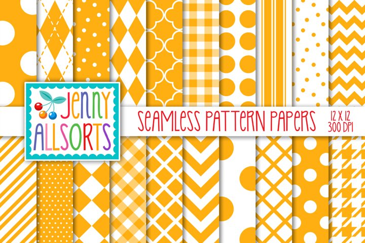 Saffron Yellow & White Seamless Digital Repeat Geometric
