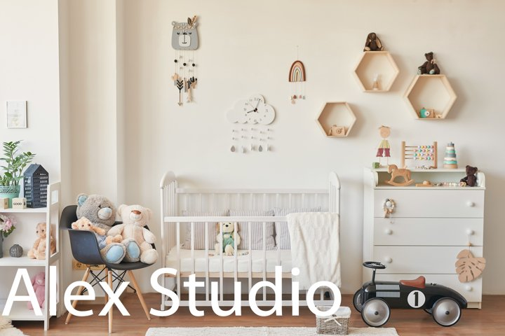 Kids room scandinavia. Wooden toys in childrens room